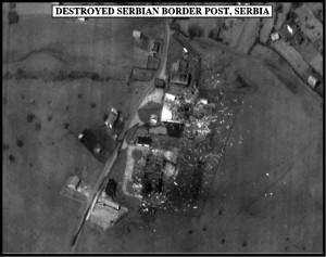 990504-O-9999M-008 Post-strike bomb damage assessment photograph of a Destroyed Serbian Border Post, Serbia, used by Joint Staff Vice Director for Strategic Plans and Policy Maj. Gen. Charles F. Wald, U.S. Air Force, during a press briefing on NATO Operation Allied Force in the Pentagon on May 4, 1999. DoD photo. (Released)