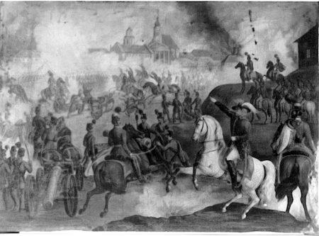 Batalia de la Sibiu, Anonim, 1849, Transilvania, ulei pe cupru, colectia Alexandru si Dan Culcer