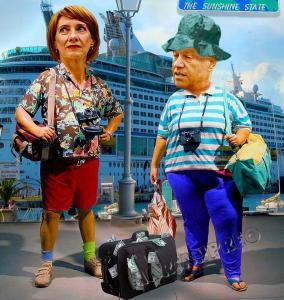 Iohannis  w caricatura-turisti